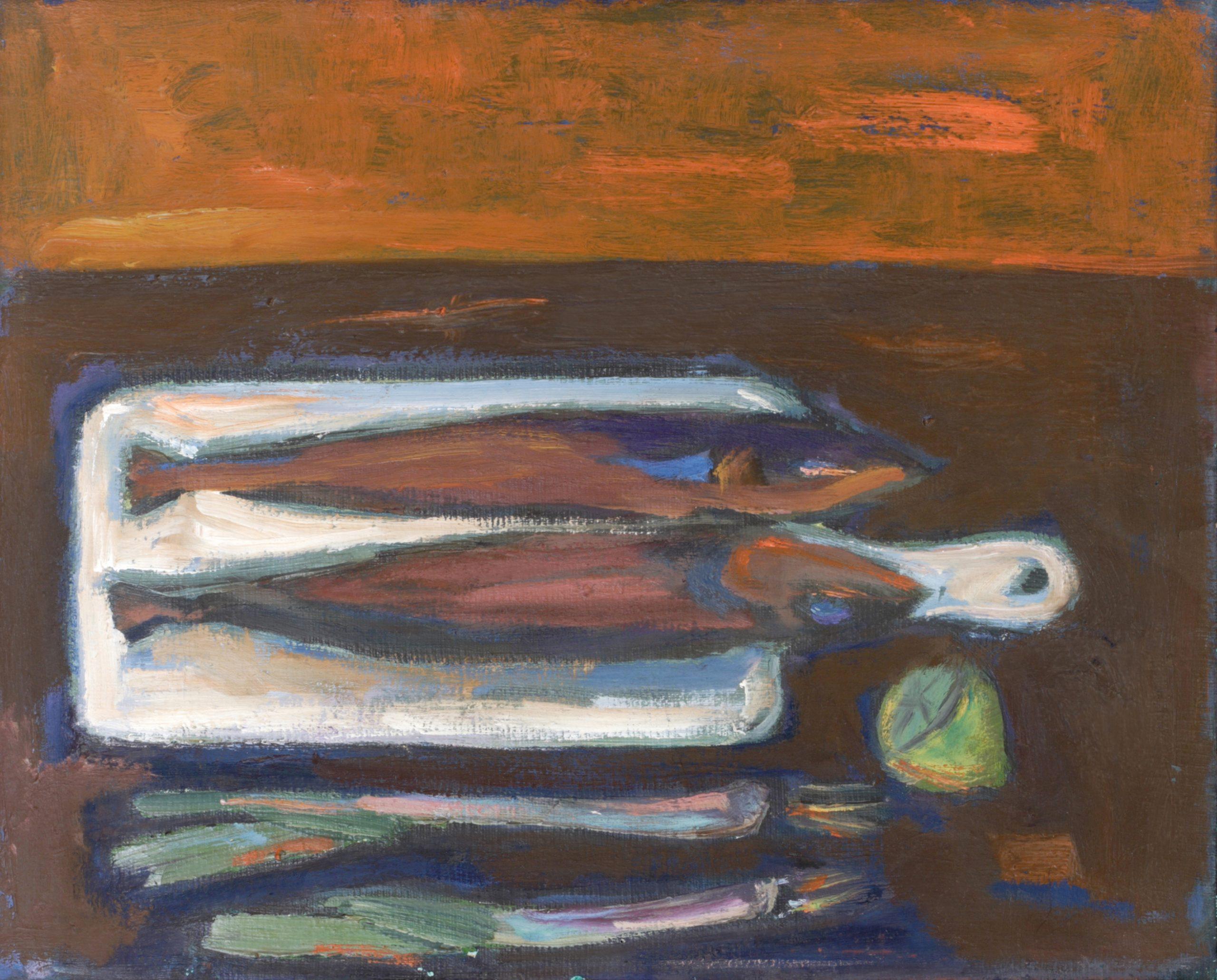 Натюрморт 'Дъска с риби' от Олга Белопитова