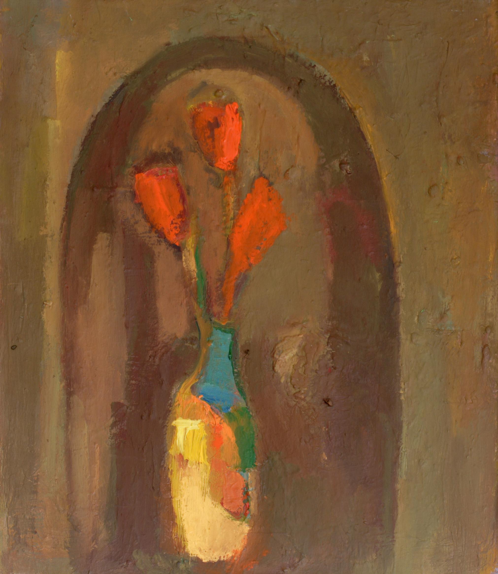 Натюрморт 'Червени цветя' от Олга Белопитова
