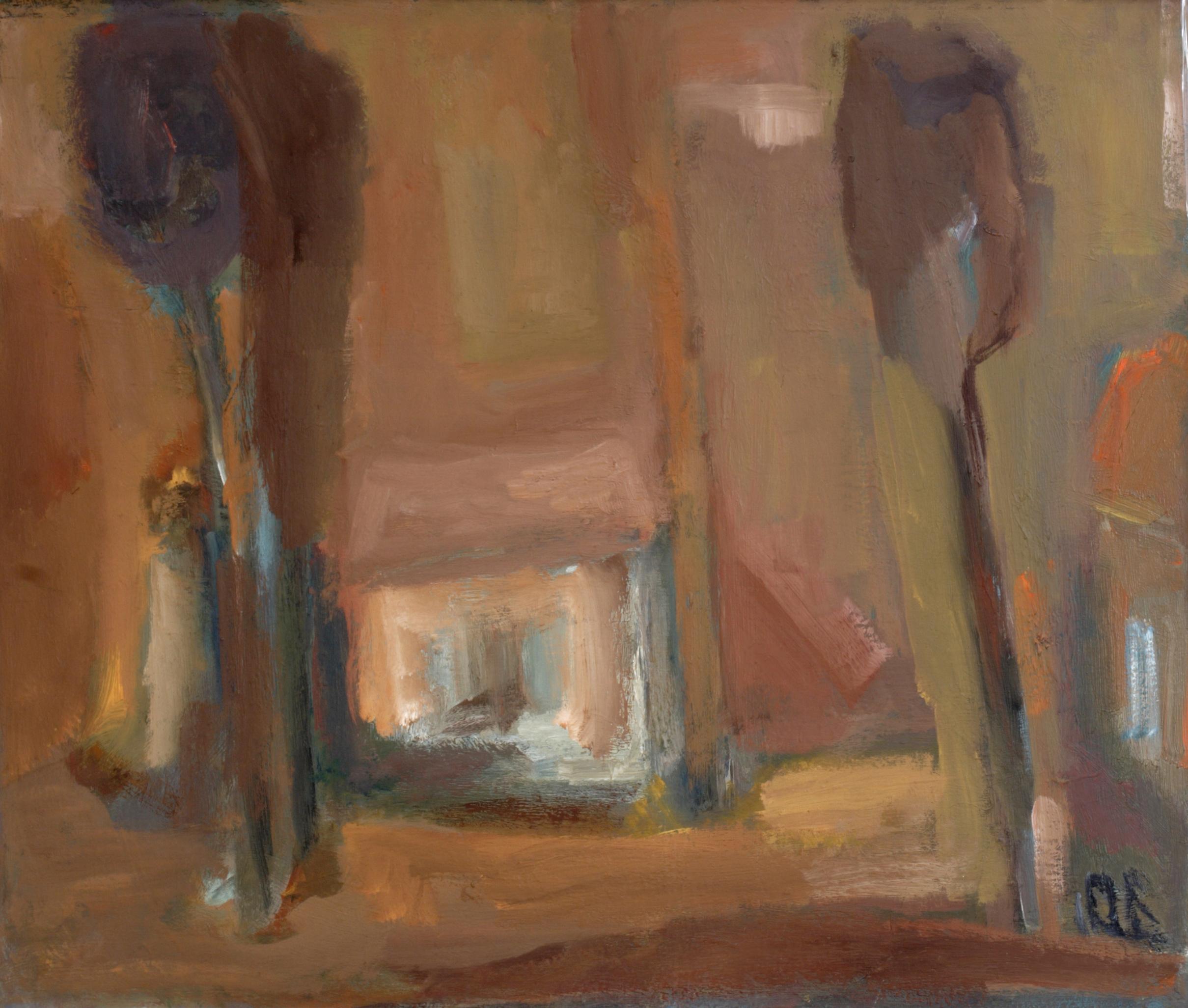 Пейзаж 'Къща с дървета' 2 от Олга Белопитова