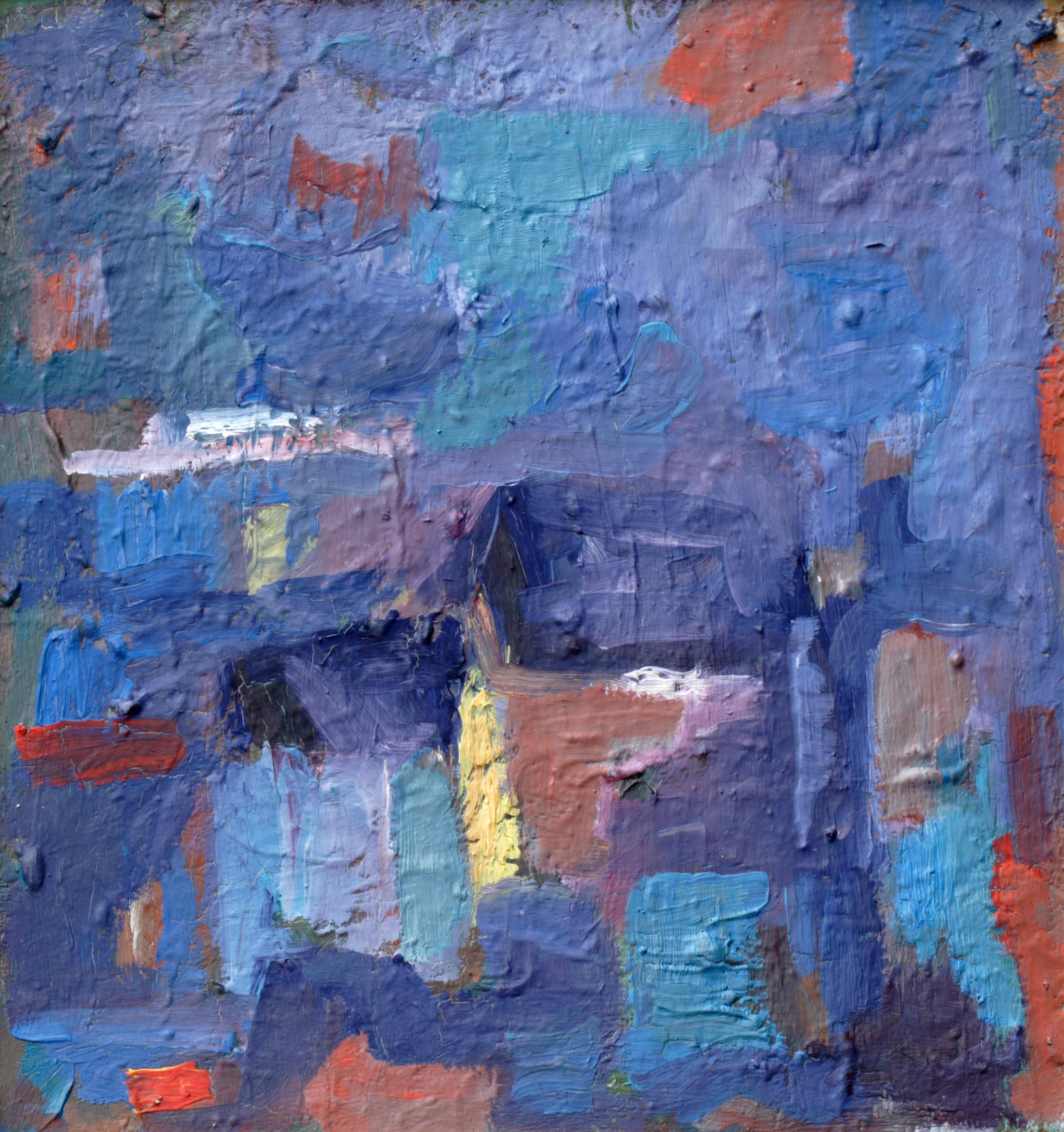 Пейзаж 'Къщи в синьо' от Олга Белопитова
